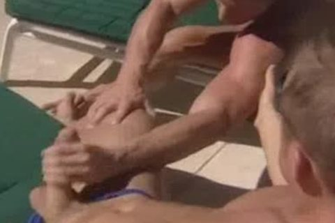 Poolside threesome