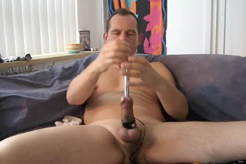 A naughty Masturbating Session With Electro Stimulation And Sounding My knob.