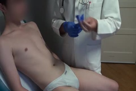 slim Japanese man Examined, hairless And Deflowered On The Doctors Examination Table. monstrous cum flow.