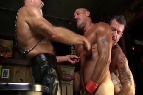 Leather Clad mates plough Each Other On The Pool Table