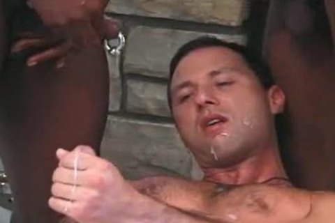 White lad gets Served In Interracial three-some