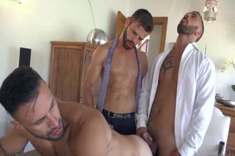 Muscle homosexual males threesome With cum flow