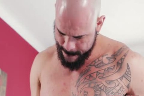 Tattoo gay ass sex And cumshot
