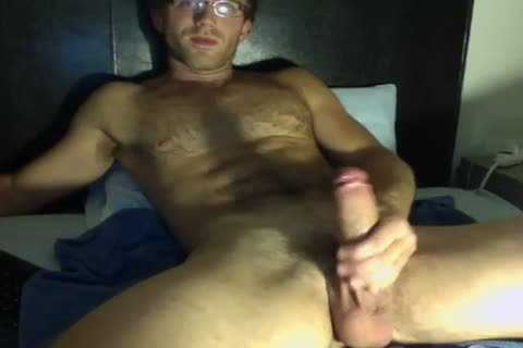 kinky twink In Glasses Jerks His large cock