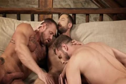 Muscle gay trio With Creampie