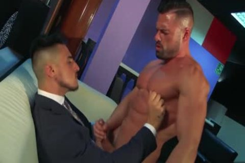 Muscle homosexual anal-copulation With sex cream flow