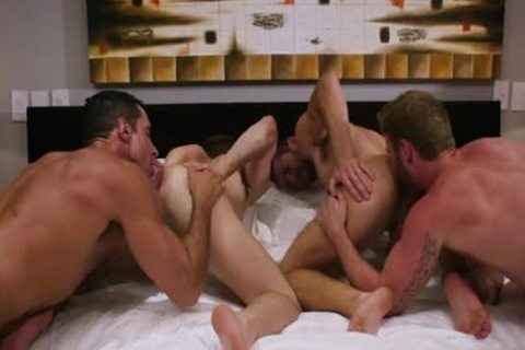 large penis Son Foursome And ball cream flow