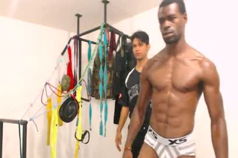Tairon And Alexandro - Flirt4Free - ebon stud In Army Garb Flexes whilst Latino Buddy Gives Him A Hard handjob