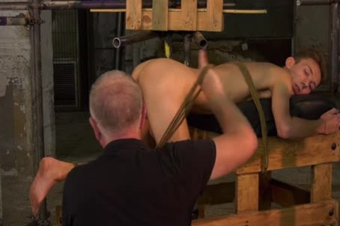 Restrained tractable Jerked Off By daddy master Sebastian