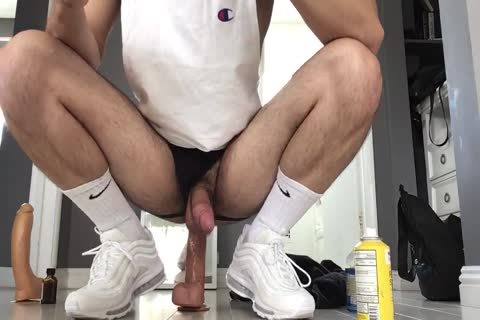 banging My Arab Otter aperture With Two Monster Dildos Wearing White Gym Crew Socks