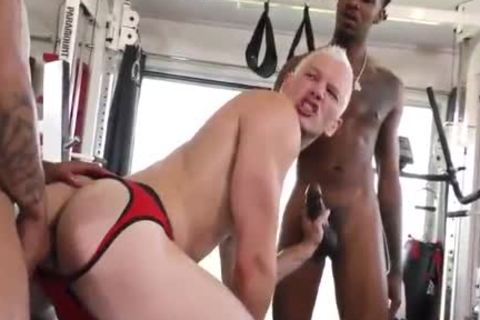 1 nice-looking Blond Vs 2 Hungry darksome men