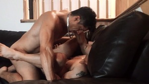 Pierre Fitch acquires plowed raw On A Leather couch - American nail