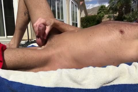 SUNBATHING WITH HARD schlong OUT AND jerking off