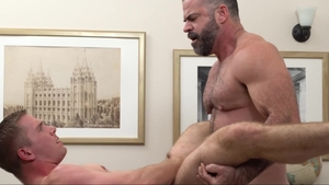 MissionaryBoys.com - Elder Kimball in panties drool in office