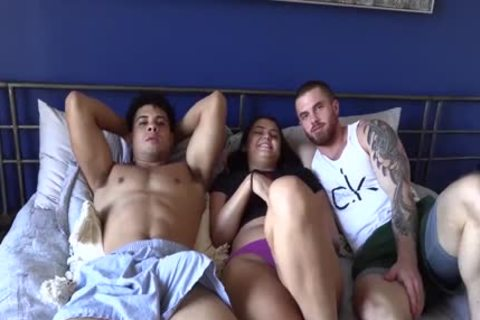 handsome Lad Bonks His hairy best friend And His latina GF