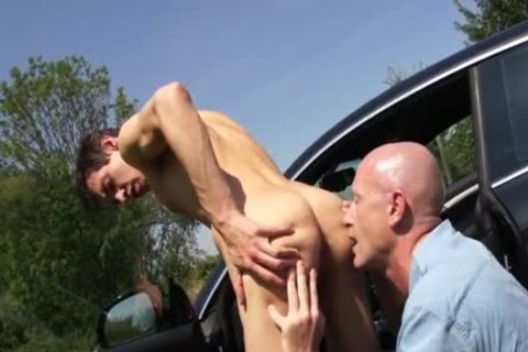 young twink bonks old lad Outdoor