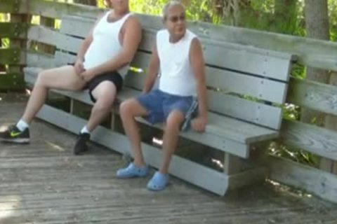 outdoors Scenes Where grandpa Sucks receives drilled By Chub