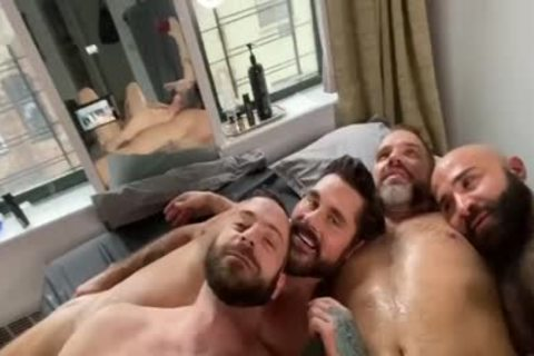 4 lewd Hunks pounding At Home