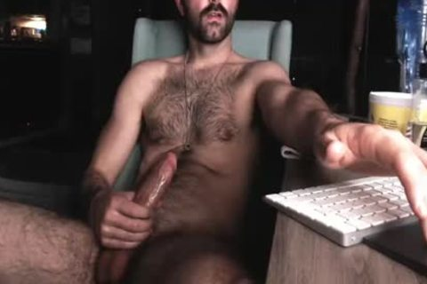 bushy Chest lad stroking His large rod And Shooting large Load Of cum