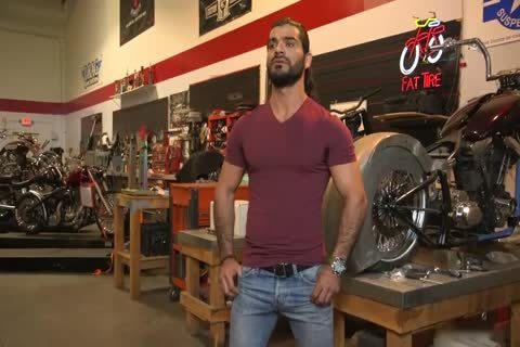 Ali Liam juicy Biker gets Edged In The Motorcycle Garage