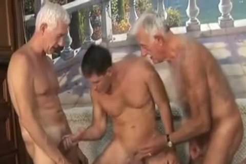 Two grandpa With youthful lad