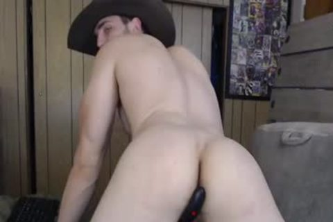 enormous Cowboy Plays With His dick And ass