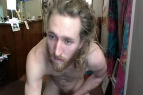 long Haired guy Doing Aerobics With His jock Loose