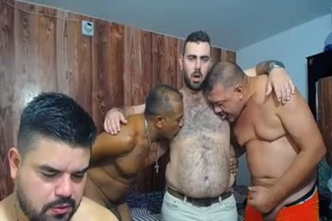A bunch Of older dudes jerking off And Showing Off Their ramrods